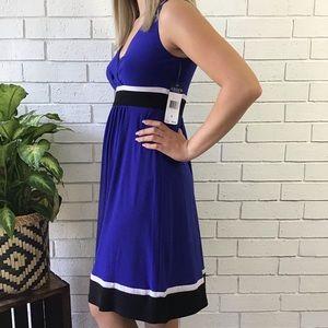 Chaps | Fit N Flare Dress Blue V Neck Sleeveless